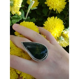 Sterling silver ring with natural jasper stone