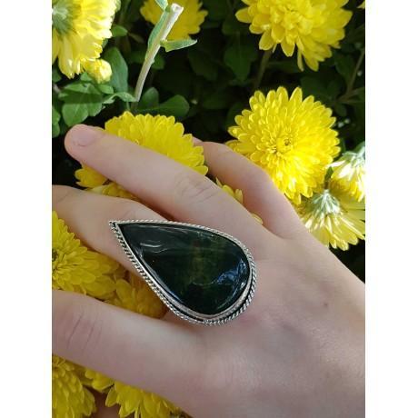 Sterling silver ring with natural jasper stone , Bijuterii de argint lucrate manual, handmade