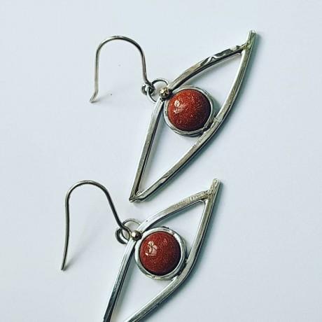 Sterling silver earrings and sunstones, Bijuterii de argint lucrate manual, handmade