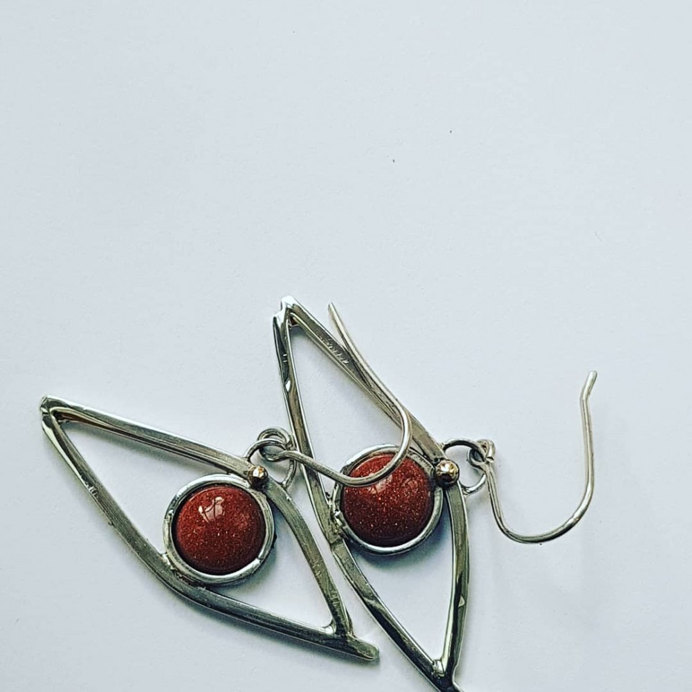 Sterling silver earrings and sunstones