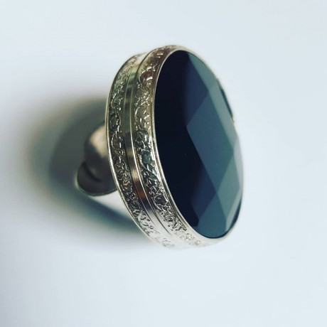 Sterling silver ring with black onix and natural Extra Blacks, Bijuterii de argint lucrate manual, handmade