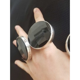 Sterling silver ring with black onix and natural Extra Blacks