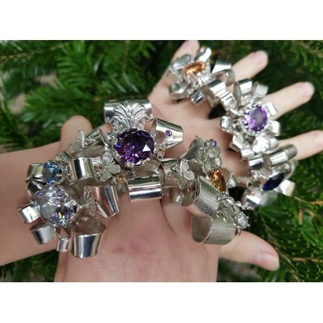 Sterling silver ring,  gold, Sapphire and citrines, Bijuterii de argint lucrate manual, handmade