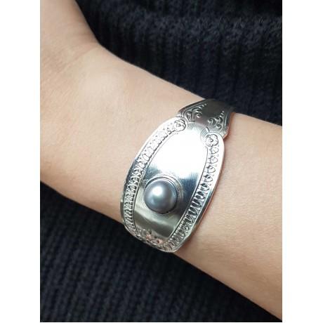 Silver cuff and cultured pearls craft, Bijuterii de argint lucrate manual, handmade