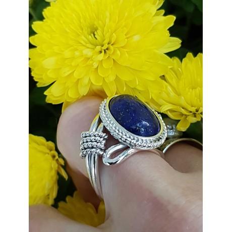 Sterling silver ring with natural lapislazuli, Bijuterii de argint lucrate manual, handmade