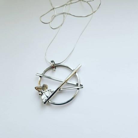 Sterling silver pendant Entwined, Bijuterii de argint lucrate manual, handmade