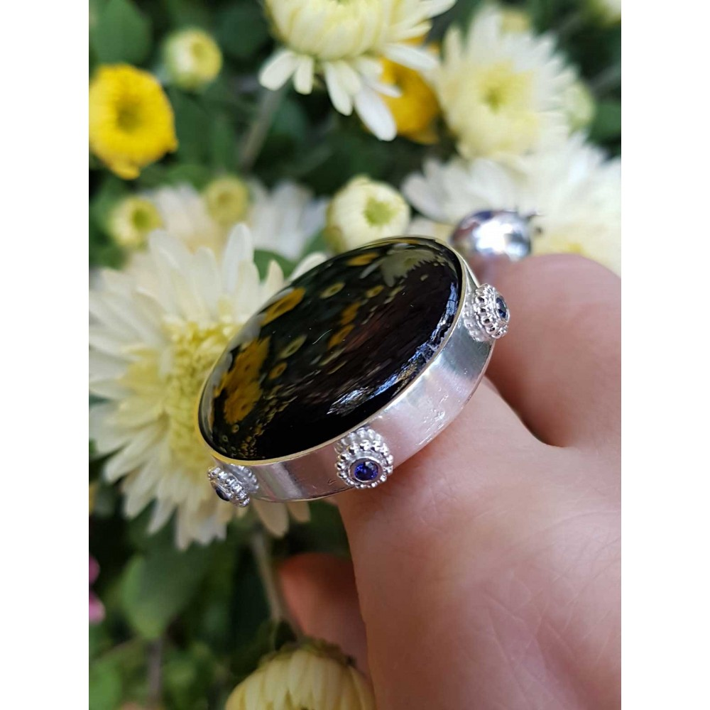 Sterling silver ring with natural onyx stone