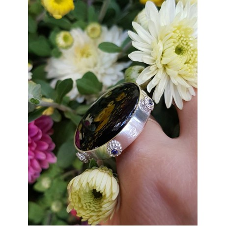 Sterling silver ring with natural onyx stone, Bijuterii de argint lucrate manual, handmade
