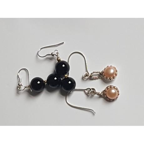 Sterling silver earrings and pearls , Bijuterii de argint lucrate manual, handmade