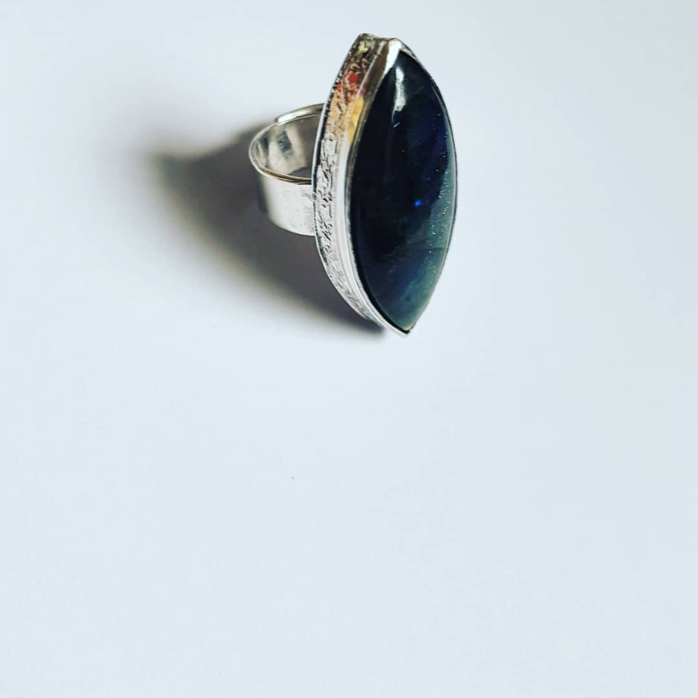 Sterling silver ring with natural labradorite Streaming Labradorite