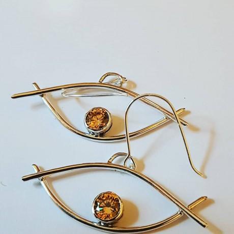 Sterling silver earrings and citrines, Bijuterii de argint lucrate manual, handmade