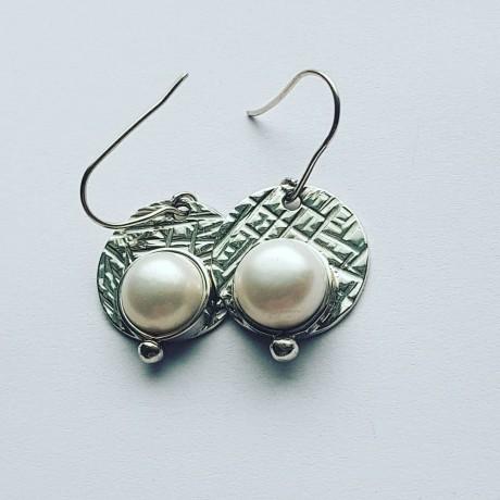 Sterling silver Earrings PearlSpot, Bijuterii de argint lucrate manual, handmade
