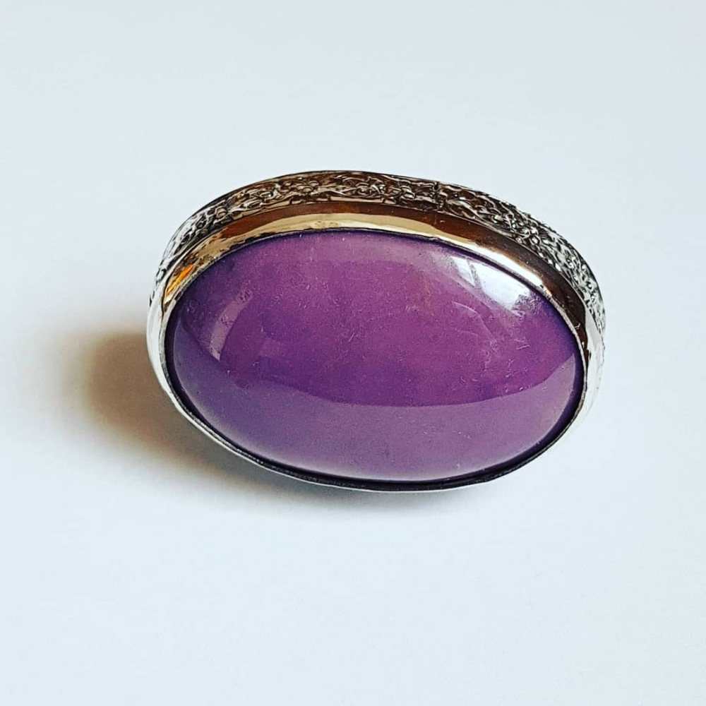 Large Sterling Silver ring with natural phosphosiderite Purple Cure