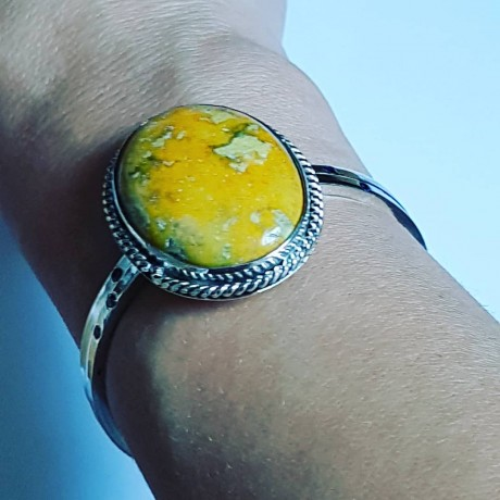 Sterling silver cuff with natural jasper, Bijuterii de argint lucrate manual, handmade