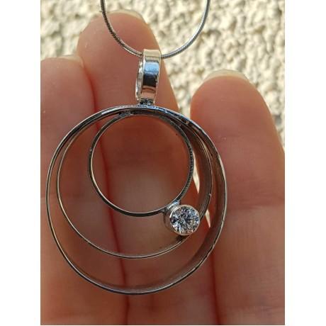 Sterling silver necklace with zircon, Bijuterii de argint lucrate manual, handmade