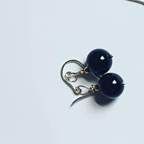 Sterling silver earrings and onyx , Bijuterii de argint lucrate manual, handmade