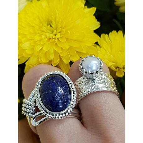 Sterling silver ring with pearl, Bijuterii de argint lucrate manual, handmade