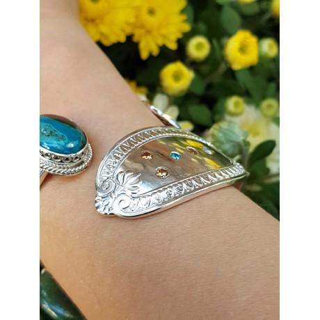 Sterling silver cuff & natural moonstone Moon Drenched, Bijuterii de argint lucrate manual, handmade