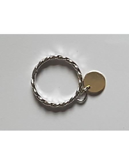 Sterlingsilver ring and 14k gold Roundies , Bijuterii de argint lucrate manual, handmade