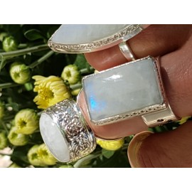 Sterling silver ring and moonstone, Bijuterii de argint lucrate manual, handmade