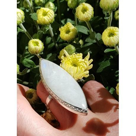 Sterling silver ring and moonstone, Bijuterii de argint lucrate manual, handmade