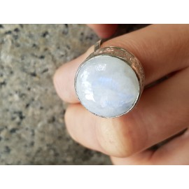 Sterling silver ring with natural moonstone Sound of Deep, Bijuterii de argint lucrate manual, handmade