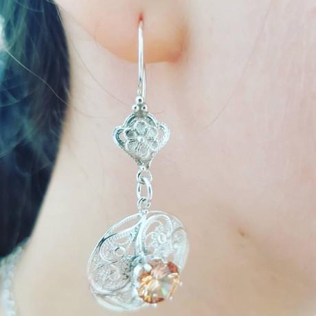 Sterling silver earrings and citrines Mindmyglowin , Bijuterii de argint lucrate manual, handmade