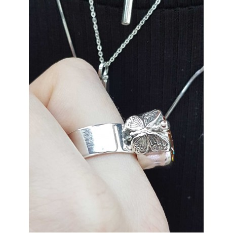 Sterling silver ring and citrine dalloz, Bijuterii de argint lucrate manual, handmade