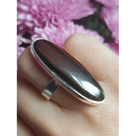 Sterling silver ring with natural iron tigers eye , Bijuterii de argint lucrate manual, handmade