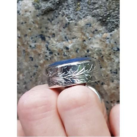 Sterling silver ring with natural lapislazuli , Bijuterii de argint lucrate manual, handmade