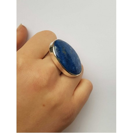 Sterling silver ring with natural lazulite, Bijuterii de argint lucrate manual, handmade