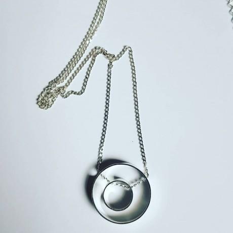 Sterling silver necklace InbetweenCircles, Bijuterii de argint lucrate manual, handmade