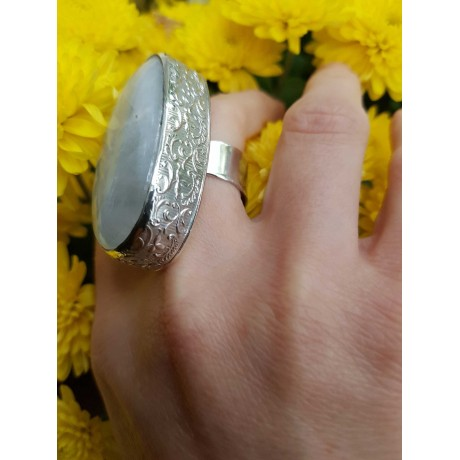Large Sterling Silver ring with natural Moon stone, Bijuterii de argint lucrate manual, handmade