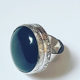 Large Sterling Silver ring and natural Obsidian