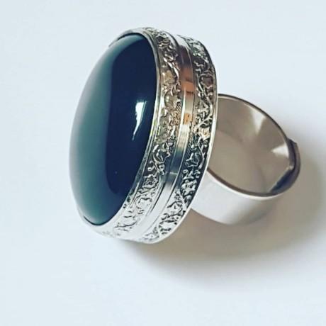 Large Sterling Silver ring and natural Obsidian, Bijuterii de argint lucrate manual, handmade