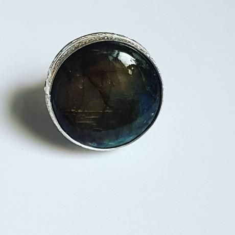 Sterling silver ring with natural labradorite stone, Bijuterii de argint lucrate manual, handmade
