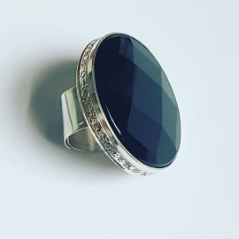 Large Sterling silver ring with natural onyx stone