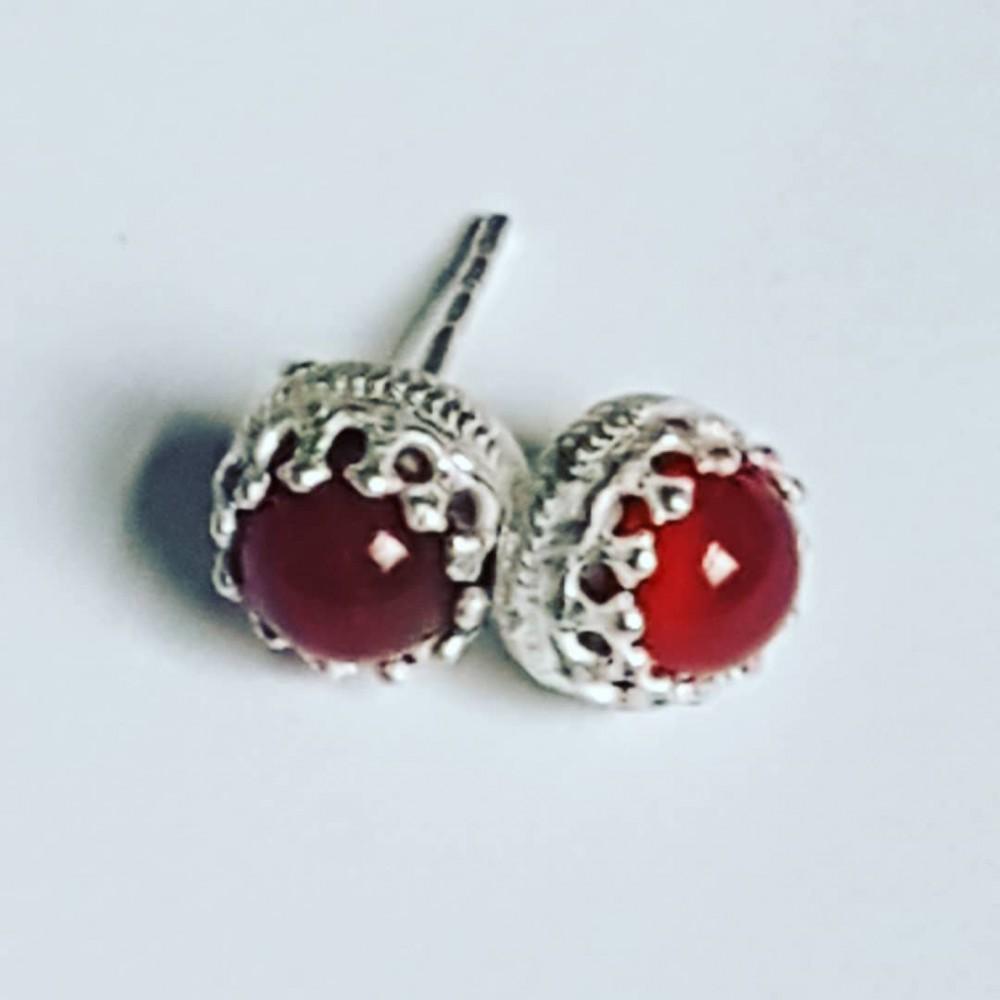 Sterling silver earrings and carnelian
