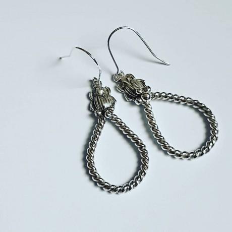 Sterling silver earrings Scarabeans, Bijuterii de argint lucrate manual, handmade