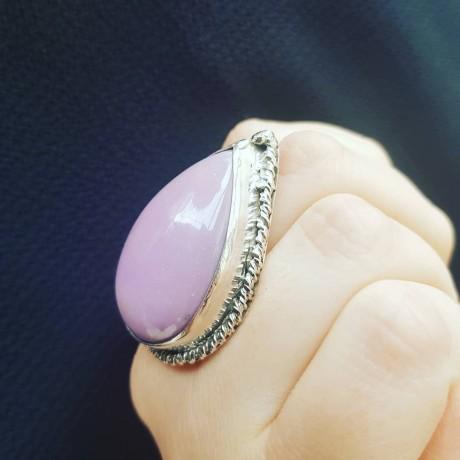 Sterling silver ring with natural phosphosiderite PurpleTears, Bijuterii de argint lucrate manual, handmade