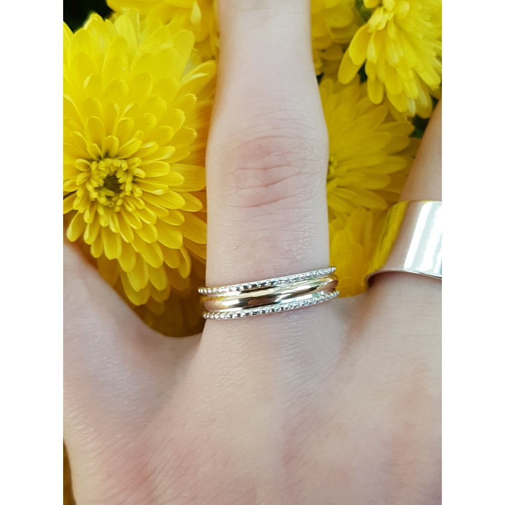 Gold and Sterling silver engagement ring