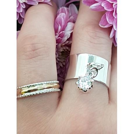 Gold and Sterling silver engagement ring, Bijuterii de argint lucrate manual, handmade