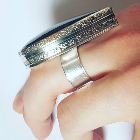 Large Sterling Silver ring with natural labradorite BigBuggy, Bijuterii de argint lucrate manual, handmade
