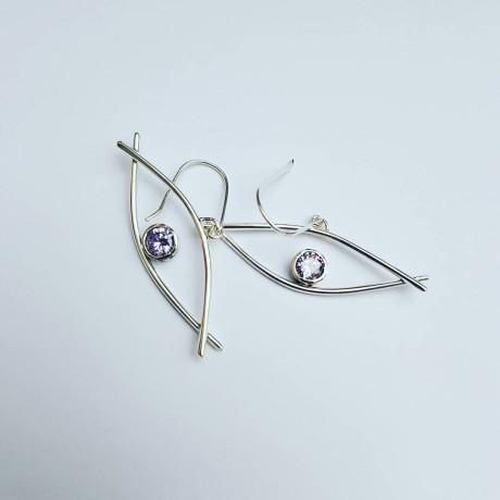 Sterling silver earrings and amethysts, Bijuterii de argint lucrate manual, handmade