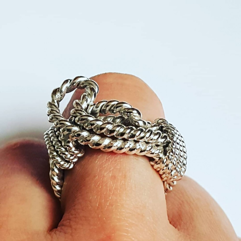 Sterling silver ring and masive Entangled