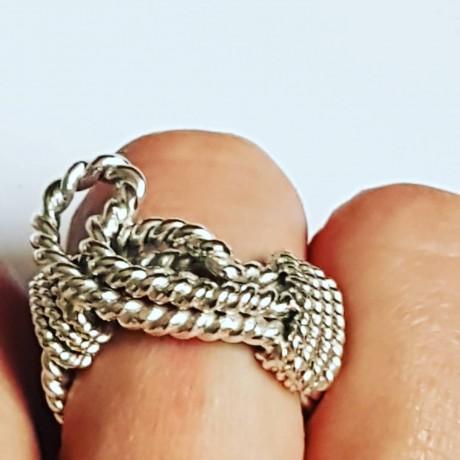 Sterling silver ring and masive Entangled, Bijuterii de argint lucrate manual, handmade