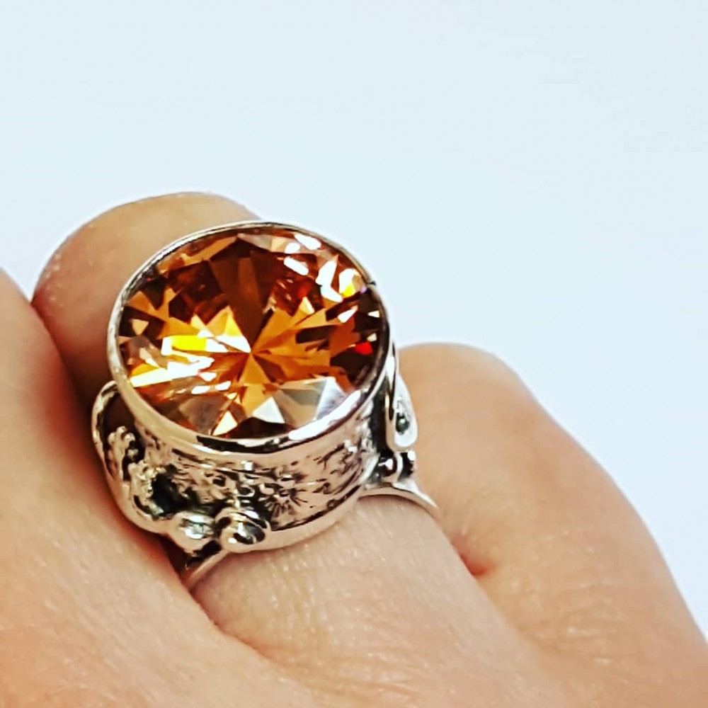 Sterling silver ring and citrine Love & Lizards