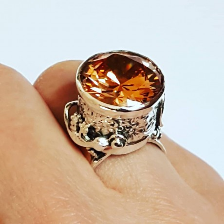 Sterling silver ring and citrine Love & Lizards, Bijuterii de argint lucrate manual, handmade