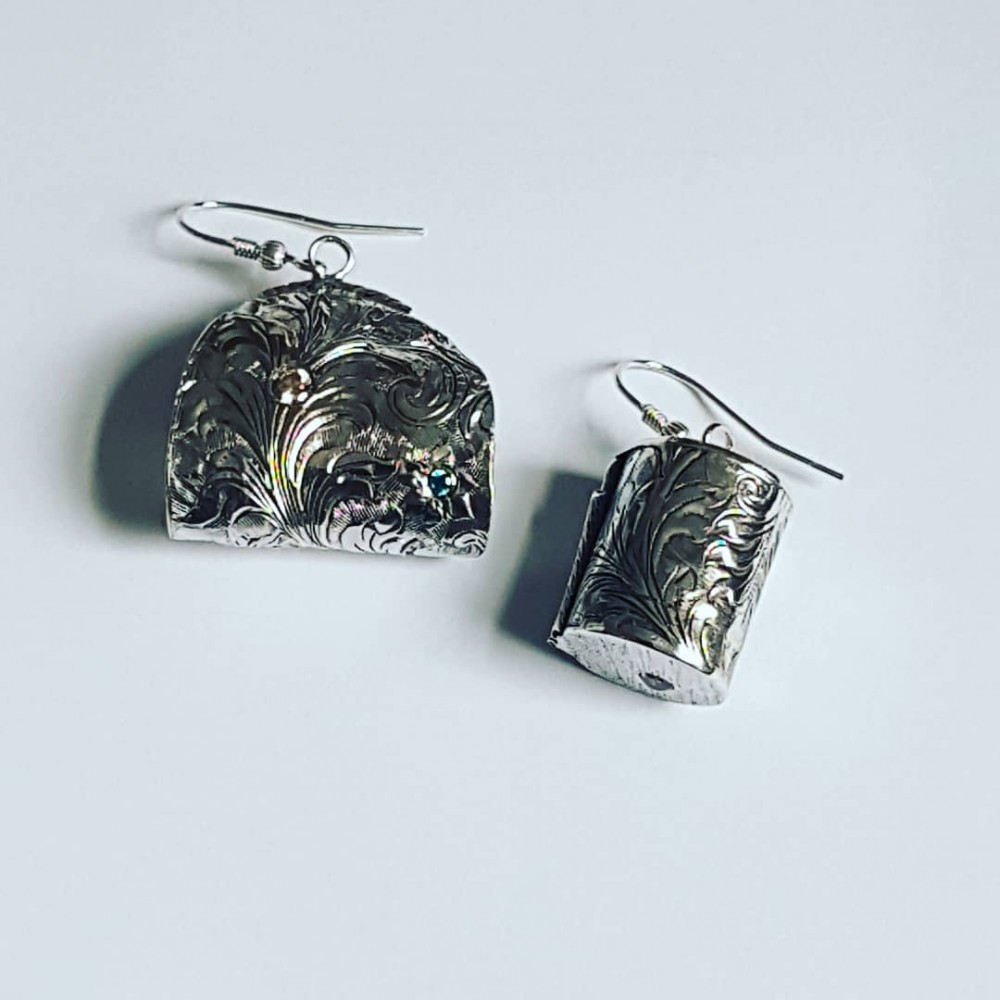 Sterling silver earrings and citrines
