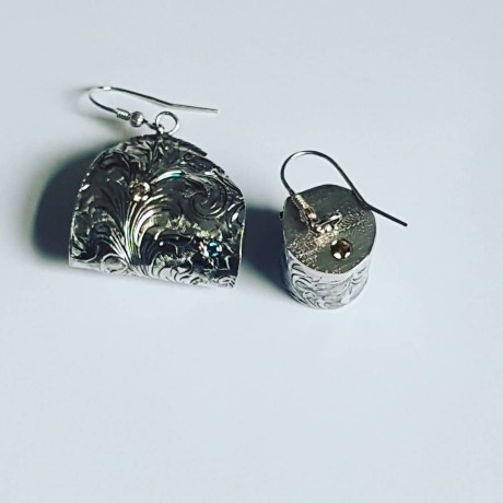 Sterling silver earrings and citrines, Bijuterii de argint lucrate manual, handmade